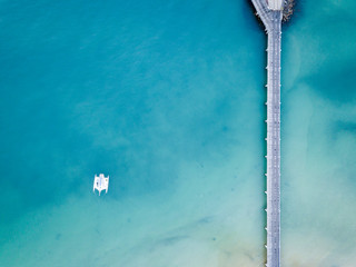 Catamaran moored at Fraser Island jetty Queensland australia