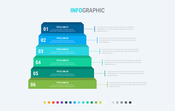 Infographic template. 6 options stairs design with beautiful colors. Vector timeline elements for presentations.