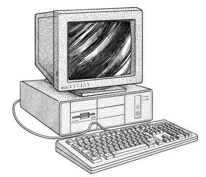 Vintage computer illustration, drawing, engraving, ink, line art, vector
