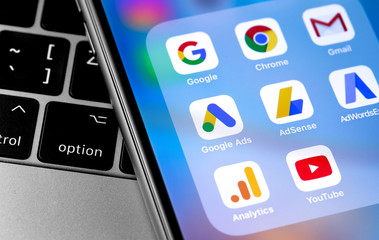 Google services icons app on smartphone screen. Google is the biggest Internet search engine in the world. Moscow, Russia - April 27, 2019