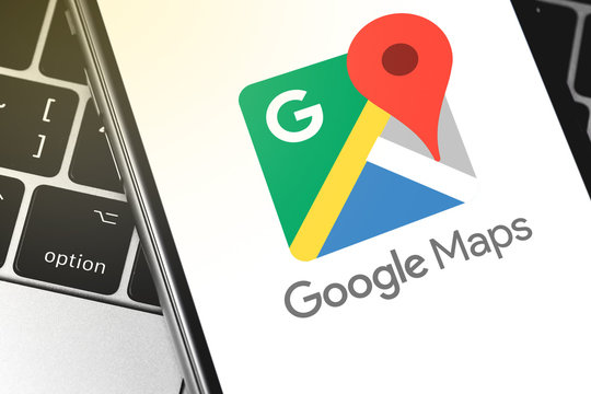 closeup Google Maps logo on the screen smartphone. Google is the biggest Internet search engine in the world. Moscow, Russia - April 27, 2019