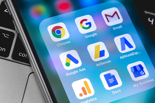 Google Services icons app on the screen smartphone. Internet marketing. Google is the biggest Internet search engine in the world. Moscow, Russia - April 9, 2019
