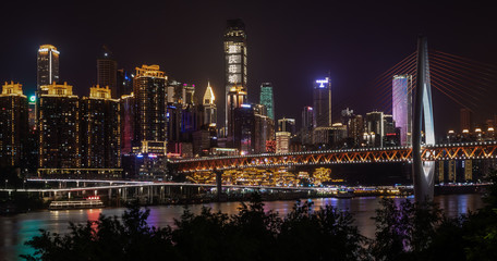 Printed roller blinds Dubai Panoramic night view of skyline with Jialing River, Qiansimen Bridge and Hongya Cave Scenery Area in Yuzhong, Chongqing, China.