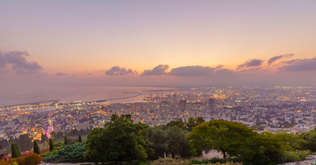 Sunrise view of downtown Haifa, the port, and the bay