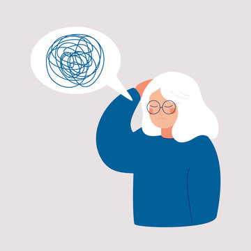 Woman has depression with bewildered thoughts in her mind. Loss of short-term memory, difficulty concentrating, problems planning and pondering things are symptoms of dementia.