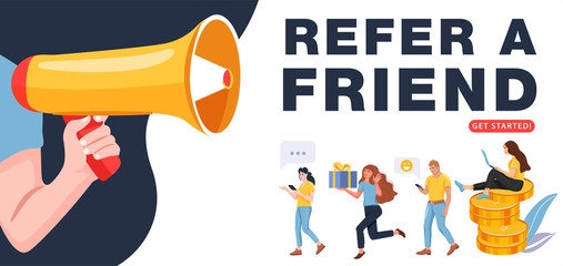 Refer a friend concept. Man with a megaphone invites his friends to referral program. People share info about referral program. Social communication, loyalty program for friends. Vector.