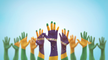 Brazil flag on people palm hands raising up for volunteer, voting, help wanted, and national holiday celebration praying for Brazilian power isolated on blue sky background (clipping path) Wall mural
