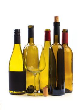 set of empty bottles of wine isolated on a white background - Image