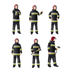 Set of Fireman People