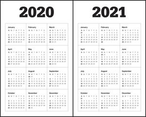 Year 2020 2021 calendar vector design template