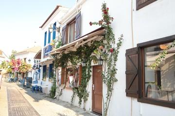 Alacati street view in Alacati Town. Alacati is populer historical tourist destination in Turkey.