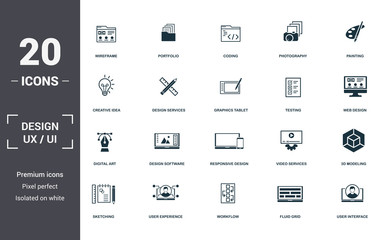 Design Ui And Ux set icons collection. Includes simple elements such as Wireframe, Portfolio, Coding, Photography, Painting, Design Software and Responsive Design premium icons Wall mural