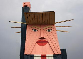 A lookalike statue of Donald Trump, called Slovenian statue of liberty, is seen in Selo pri Kamniku