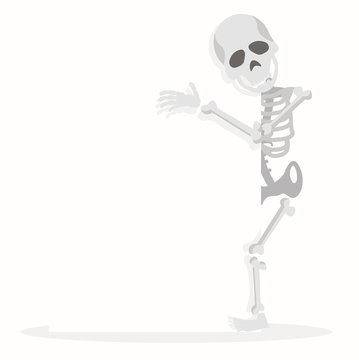 skeleton cartoon character hold a blank sign
