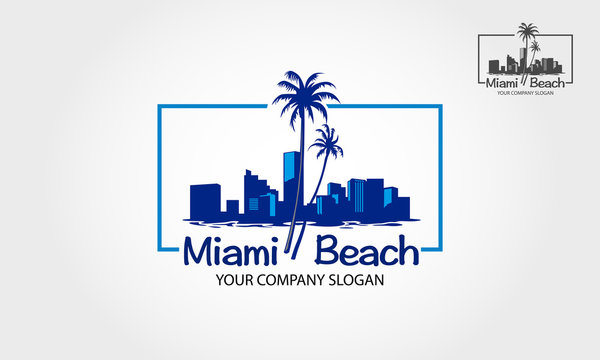 Miami beach vector logo in silhouette style with beach, palm tree and buildings vector illustration.