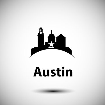 Austin USA, detailed silhouette. Trendy vector illustration, flat style. Stylish andmark. Concept for a web banner. Business travel icon