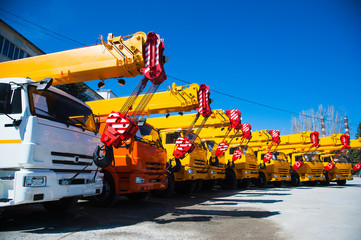 Mobile construction cranes with yellow telescopic arms and big tower cranes in sunny day