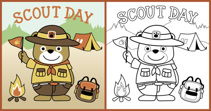 vector cartoon of scout day with cute scout, coloring book or page