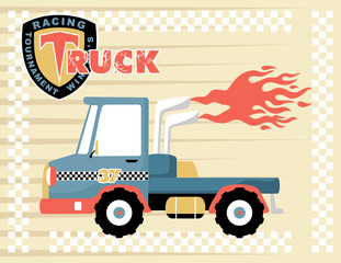 vector cartoon illustration of racing truck with flames