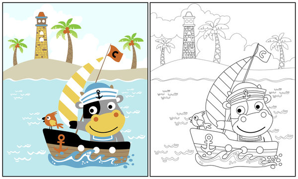 cow the sailor on island background, vector cartoon illustration, coloring book or page