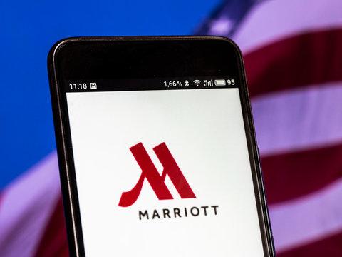 Kiev, Ukraine, September 15, 2018, illustrative editorial. The Marriott International logo seen displayed on smart phone.