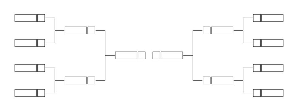 Vector line or outline championship single elimination tournament bracket or tree diagram isolated on white. Fields for 8 players or teams, 4 from each side. It is suitable for all kinds of sports.