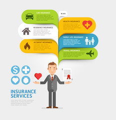 Insurance service with bubble speech template. Vector illustrations.