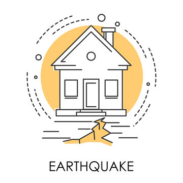 Earthquake isolated icon, house and ground destruction, natural disaster