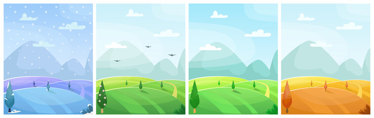 Set of seasonal flat vector cartoon landscape. Fields with trees and mountains in the background.