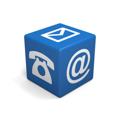 Blue cube with phone, mail and email icon on white background