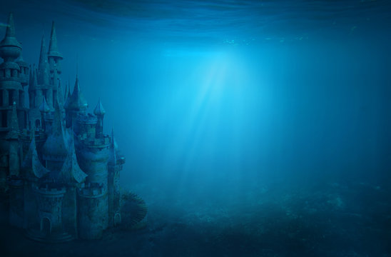 Old ruin castle under the sea