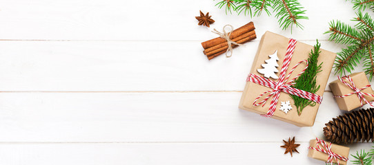 Wall Mural - Christmas background with copy space, top view. holiday concept for you design on banner wooden table