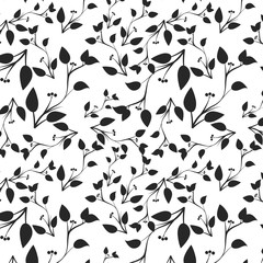 Branch pattern with black leaves on white background.