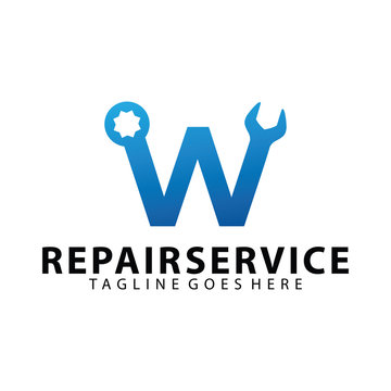 Letter Initial W for repair service Icon Logo design inspiration