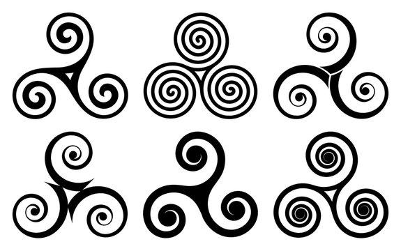 Black celtic triskels vector set. Irish, breton and scottish traditonal symbols, triple spirals isolated on white background
