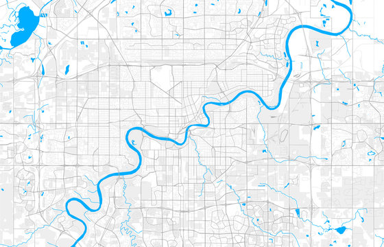 Rich detailed vector map of Edmonton, Alberta, Canada