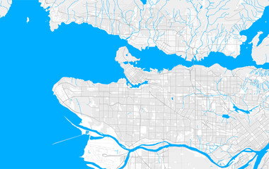 Rich detailed vector map of Vancouver, British Columbia, Canada
