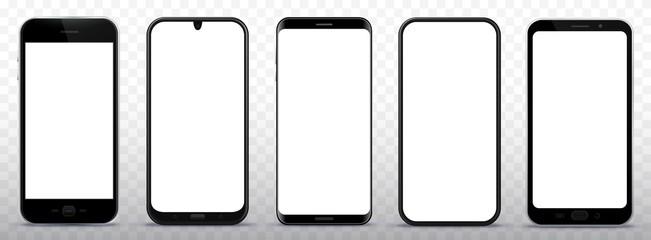 Black Smart Phones Vector Illustration Set on Transparent Background