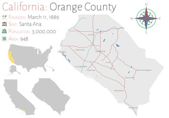 Large and detailed map of Orange county in California, USA