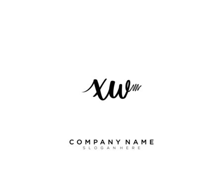 XW Initial Handwriting Logo Template Vector