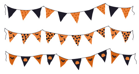 Cartoon halloween pennant banner and flags set. Different shapes orange pennant banner string isolated on white background. Colourful garland for the Halloween illustration. Fototapete