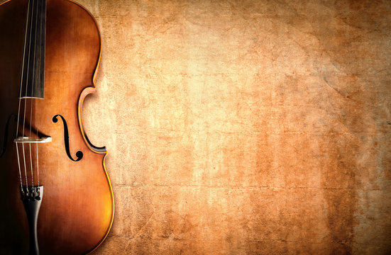 Cello and blank grunge background