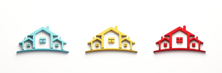 Red Blue Yellow Real Estate Houses Logo. 3D Rendering Illustration