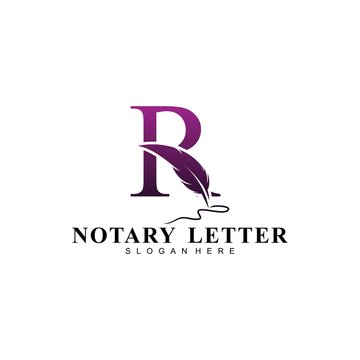 Initial letter R logo with Feather Luxury gold.