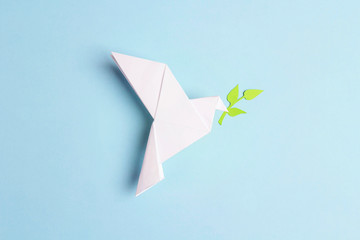 Paper origami dove of peace with olive branch on a blue background. Fotomurales