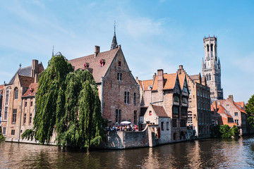 Wall Murals Bridges Belfry of Bruges and the famous river