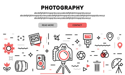 Photography flat line banner and landing page. Illustration for website development