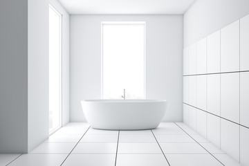 Modern white tile bathroom interior with tub