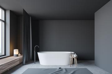 Dark gray bathroom interior with tub