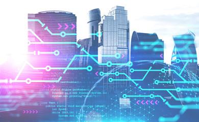 Fotobehang - Smart city concept and planet hologram